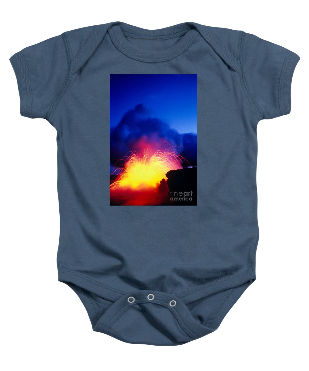 A'a Baby Onesie featuring the photograph Lava Explodes by Greg Vaughn - Printscapes