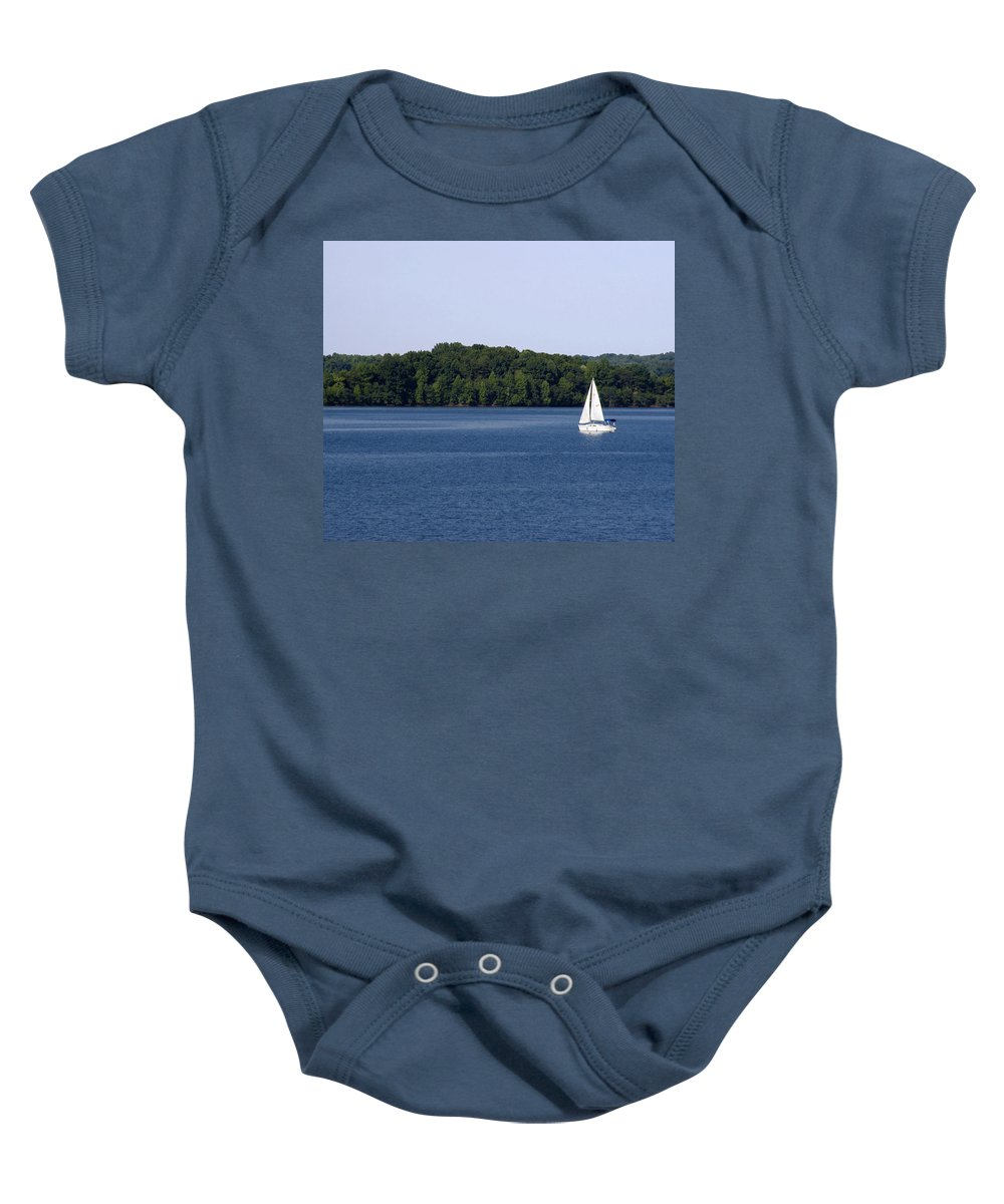 Lake Baby Onesie featuring the photograph Lazy Sunday by Jean Macaluso