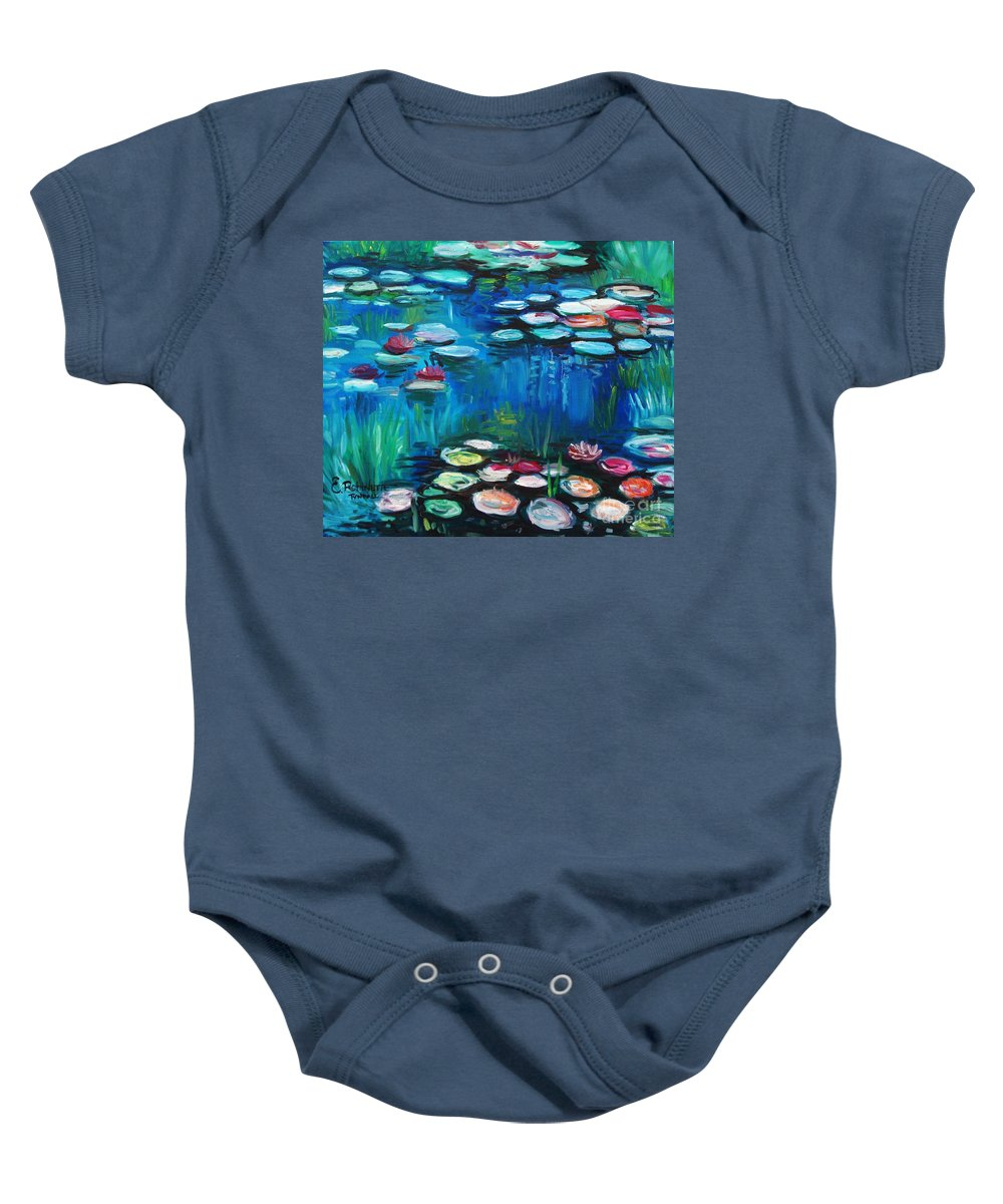 Water Lillies Baby Onesie featuring the painting Light Of The Lillies by Elizabeth Robinette Tyndall