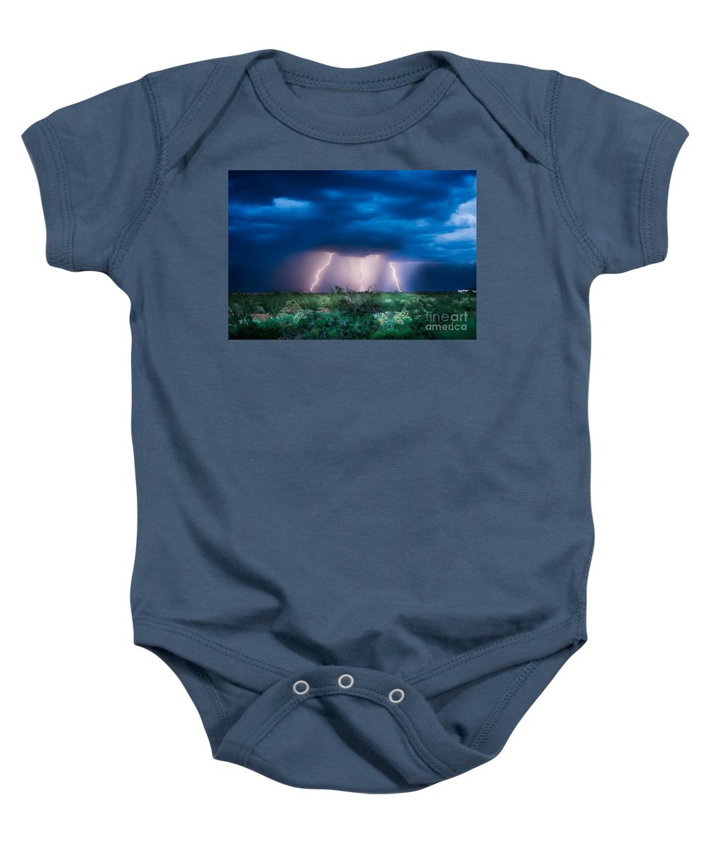 Lightning Baby Onesie featuring the photograph Lightning 1 by Larry White