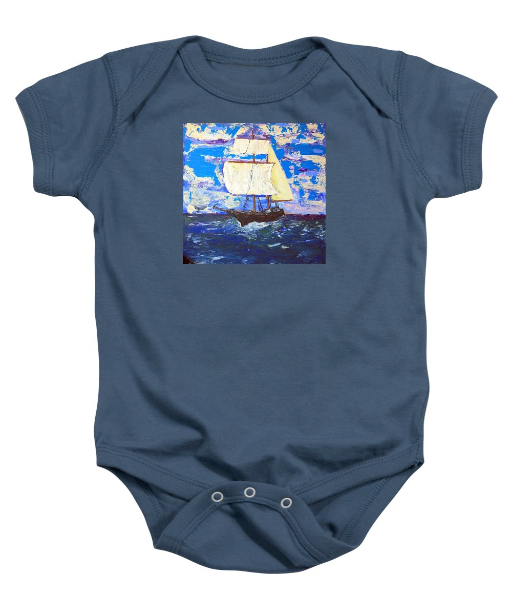 Clipper Baby Onesie featuring the painting Little Clipper by J R Seymour
