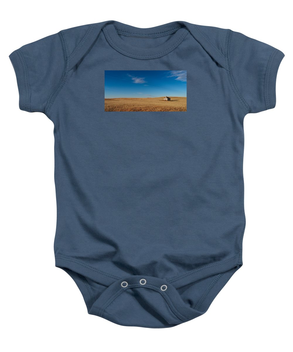 Lonesome Schoolhouse Baby Onesie featuring the photograph Lonesome Schoolhouse by Grant Groberg