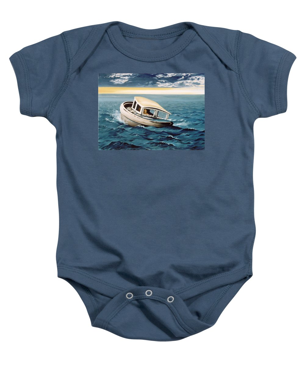 Seascape Baby Onesie featuring the painting Lost At Sea by Mark Cawood