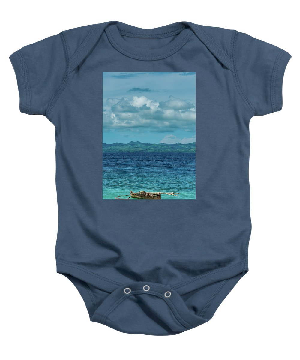 Madagascar Baby Onesie featuring the photograph Madagascar, Nosy Be, Small Boat In Sea by Michael Jacobs