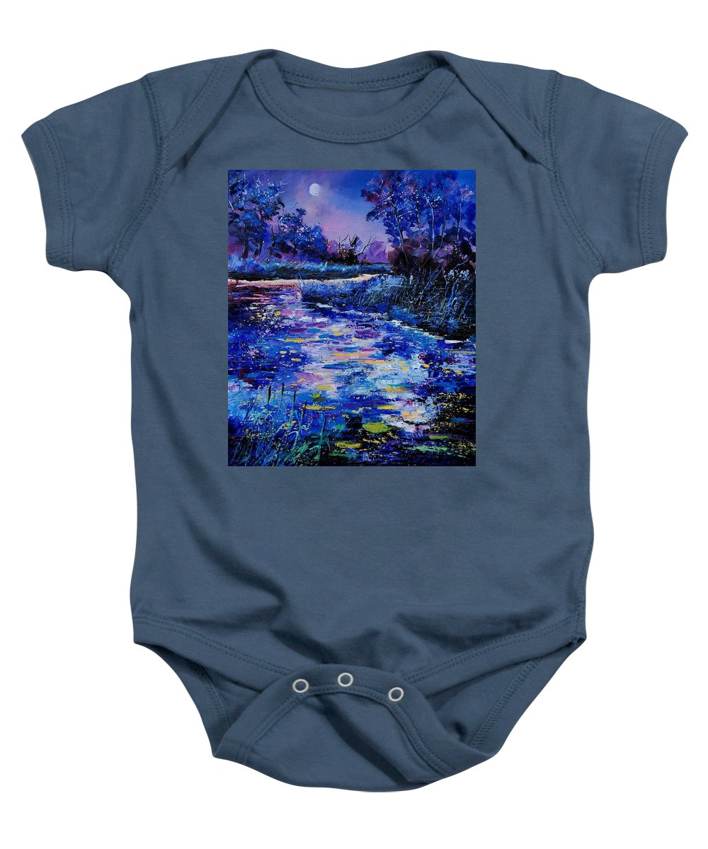 River Baby Onesie featuring the painting Magic Pond by Pol Ledent