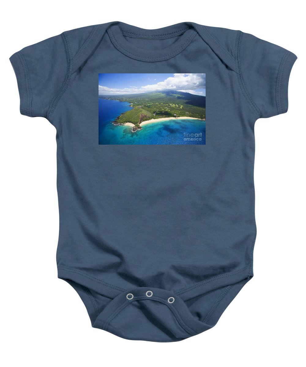 Above Baby Onesie featuring the photograph Makena Beach Aerial by Ron Dahlquist - Printscapes