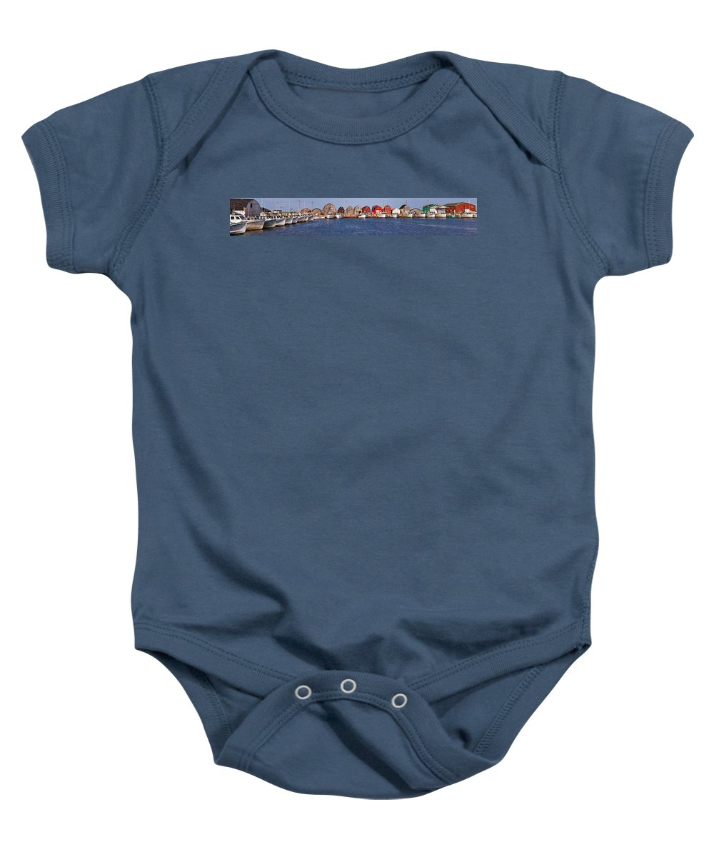 Travel Baby Onesie featuring the photograph Malpeque Harbour Panorama by Louise Heusinkveld