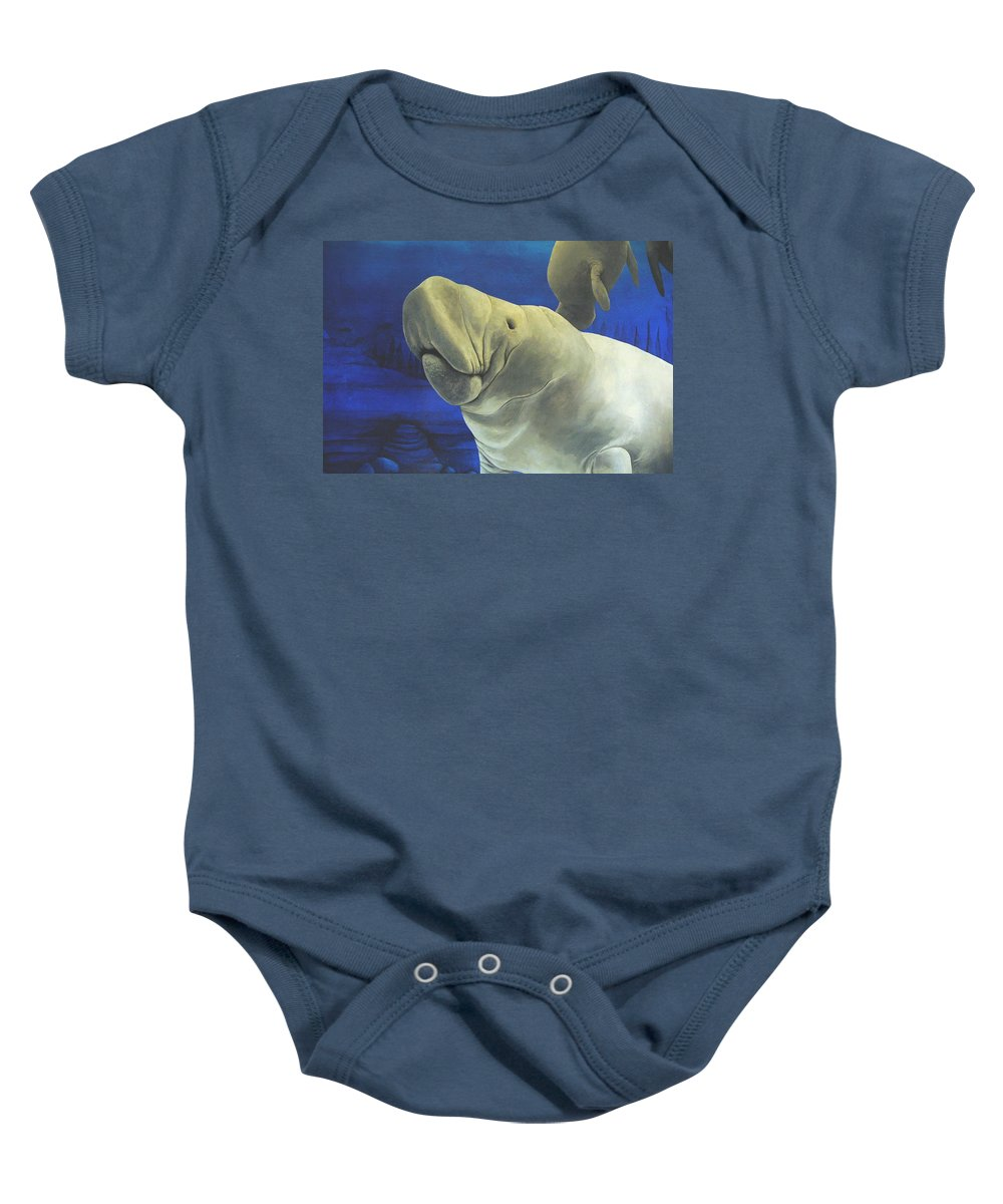 Manatee Baby Onesie featuring the painting Manatee by Cindy D Chinn