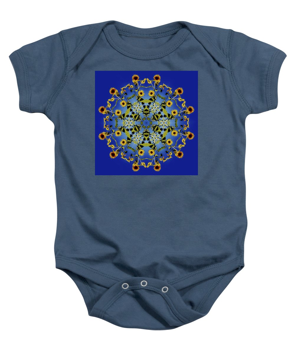 Mandala Baby Onesie featuring the digital art Mandala Sunflower by Nancy Griswold