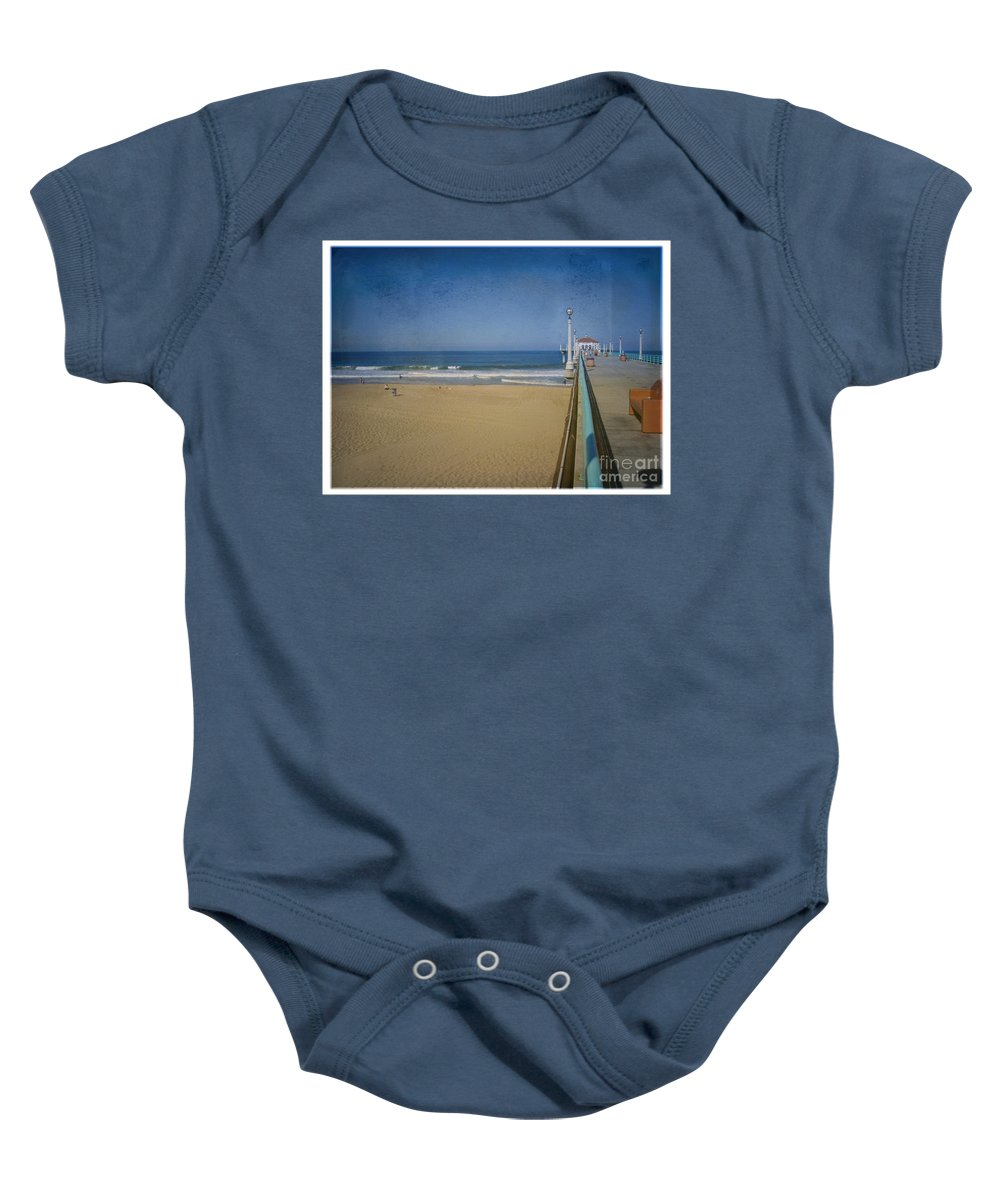 Manhattan Beach Baby Onesie featuring the photograph Manhattan Beach Pier Back Then by David Zanzinger