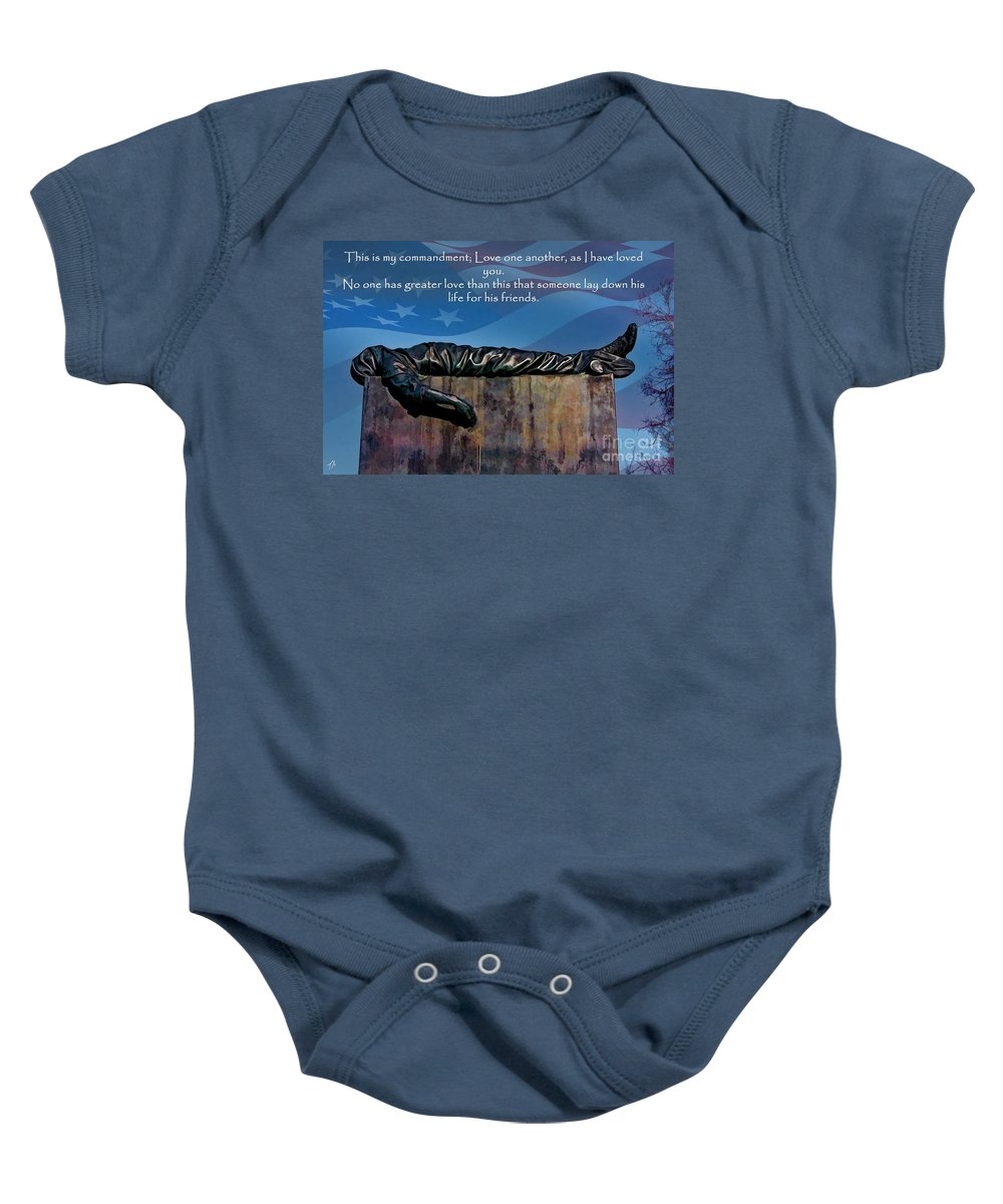 Scripture Baby Onesie featuring the digital art Memorial Day Remember by Tommy Anderson