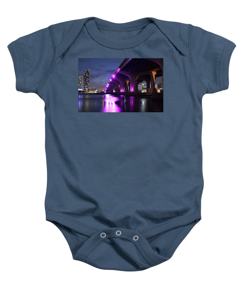 Delray Baby Onesie featuring the photograph Miami Under The 395 At Night by Ken Figurski