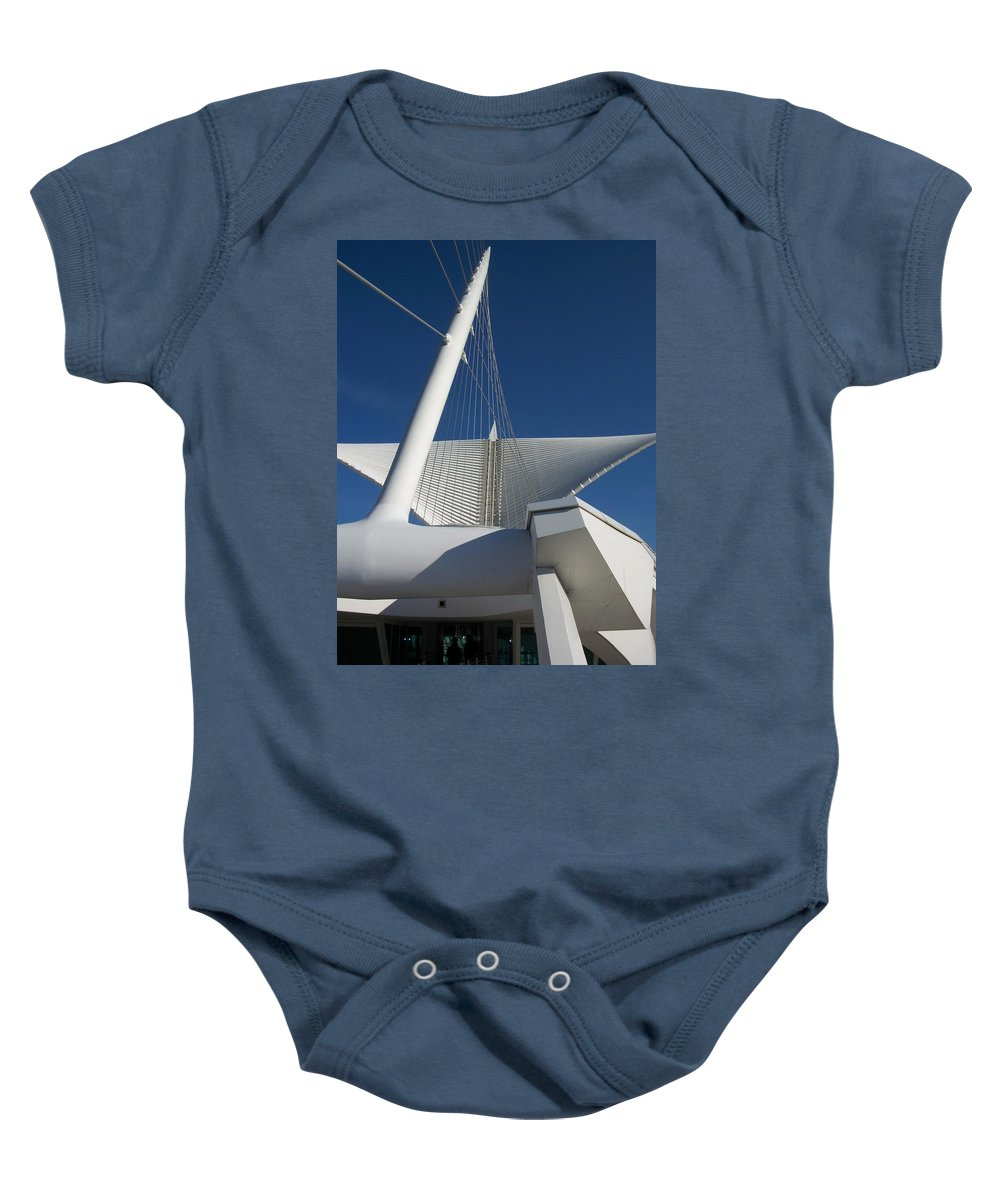 Mam Baby Onesie featuring the photograph Milwaukee Art Museum Cropped by Anita Burgermeister