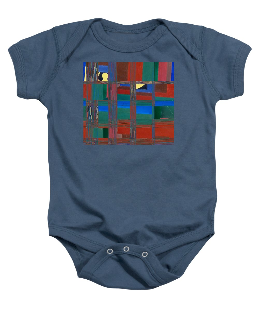 Abstract Baby Onesie featuring the digital art Modern Man In A Box by Lenore Senior