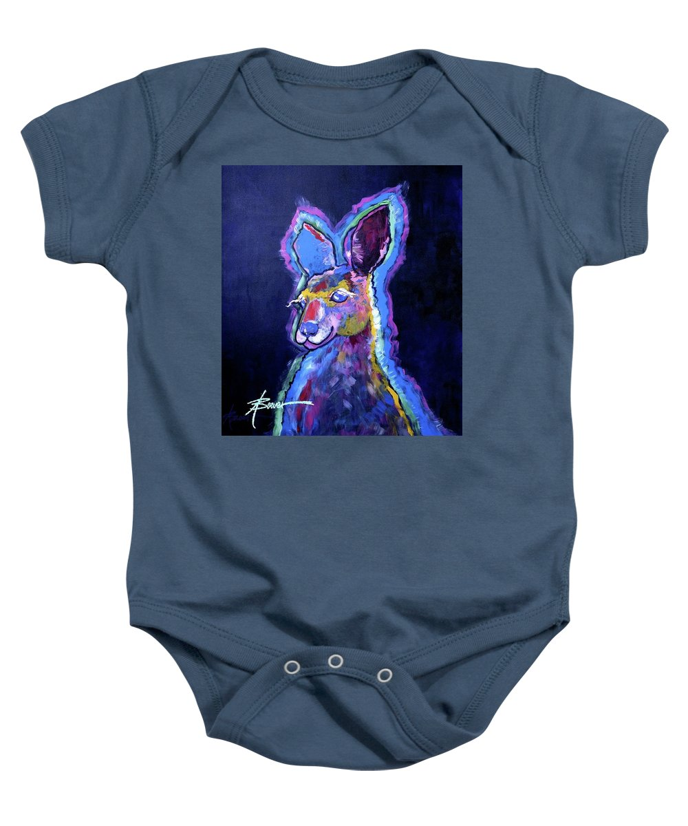 Animals Baby Onesie featuring the painting Mona Lisa 'roo by Adele Bower