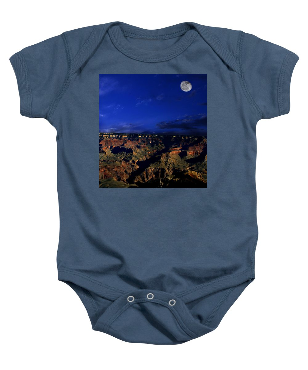 Grand Canyon Baby Onesie featuring the photograph Moon Over The Canyon by Anthony Jones