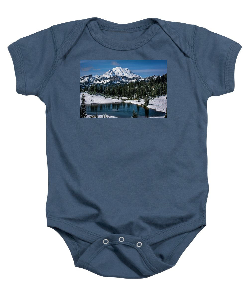 Washington Baby Onesie featuring the photograph Mount Rainier - Tipsoo Lake by Michael Sedam