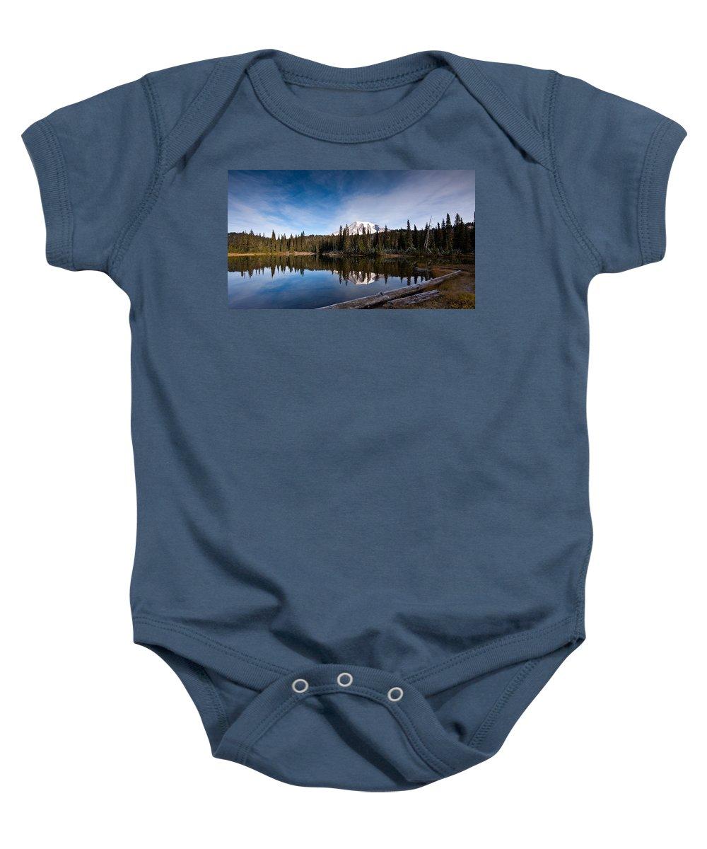 Mount Rainier Baby Onesie featuring the photograph Mount Rainier Reflection by Mike Reid