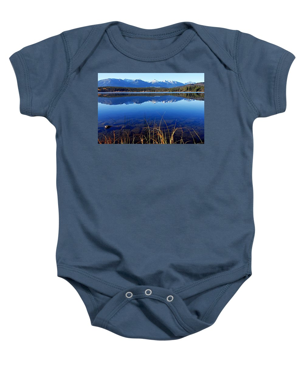Pyramid Lake Baby Onesie featuring the photograph Mountain Reflections by Larry Ricker