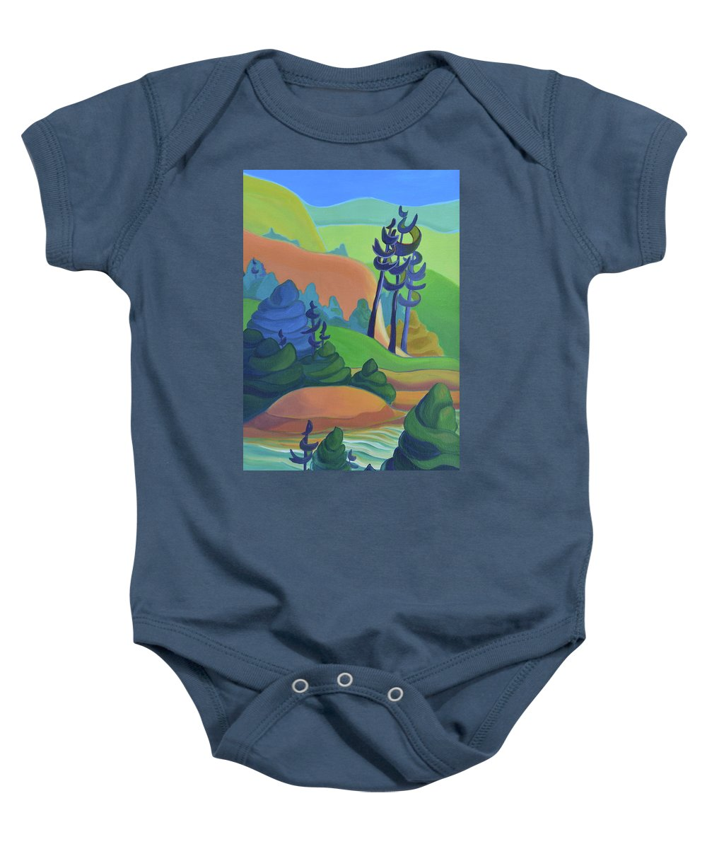 Group Of Seven Baby Onesie featuring the painting Hills In Spring by Barbel Smith