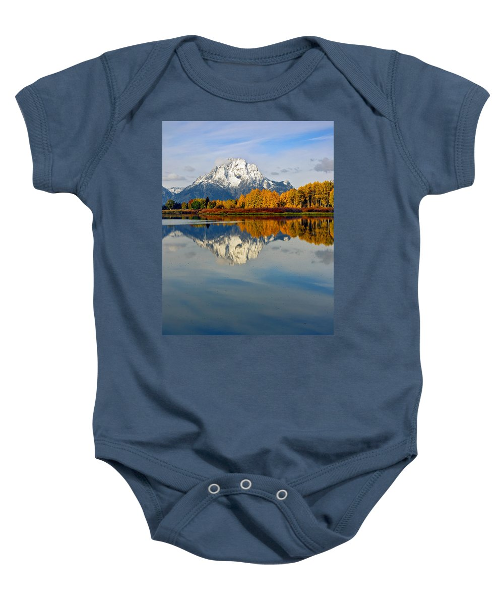Mt Moran Baby Onesie featuring the photograph Mt Moran From The Ox Bow by Gary Langley