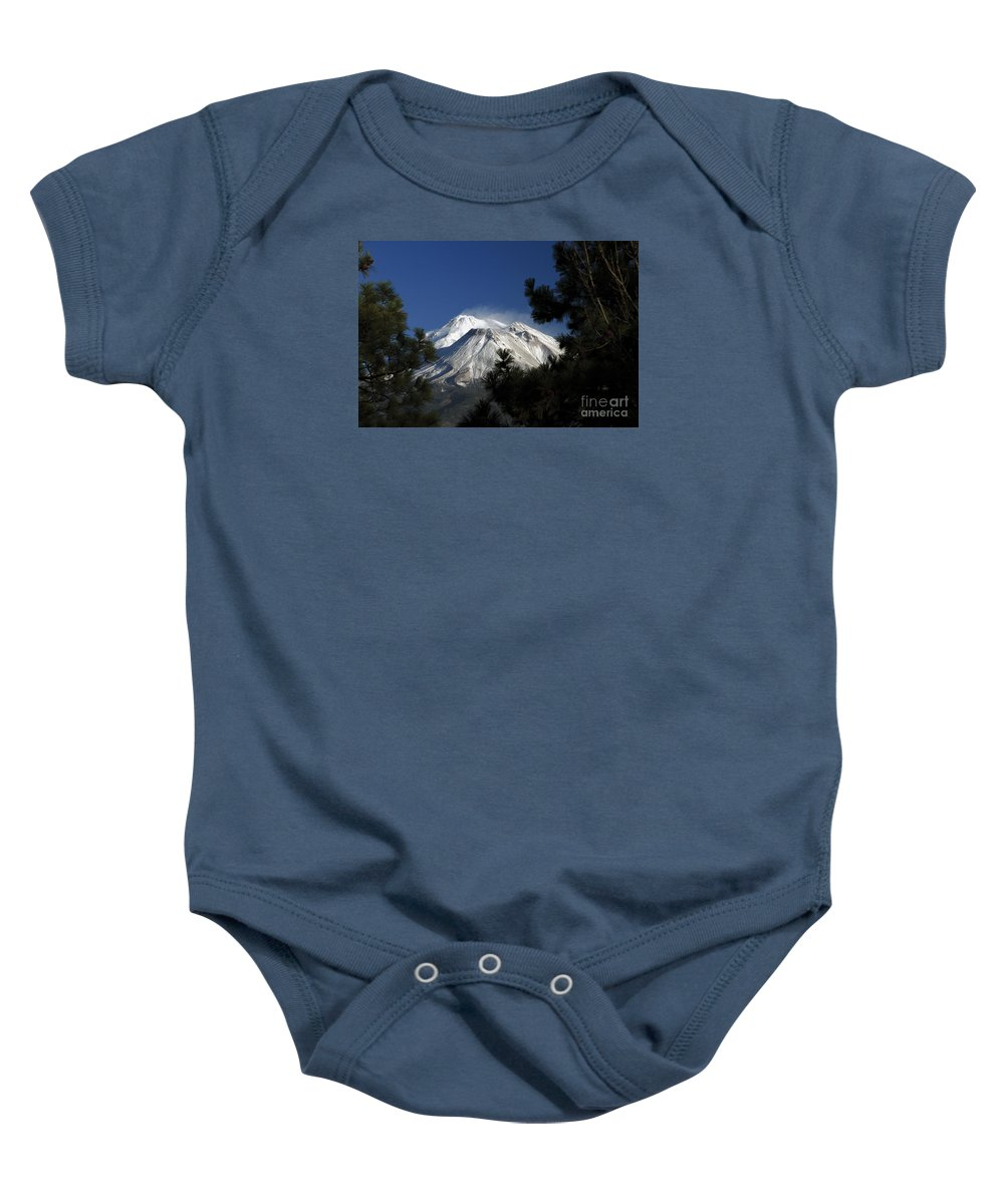 Mountain Baby Onesie featuring the photograph Mt Shasta California Through Trees by Marland Howard