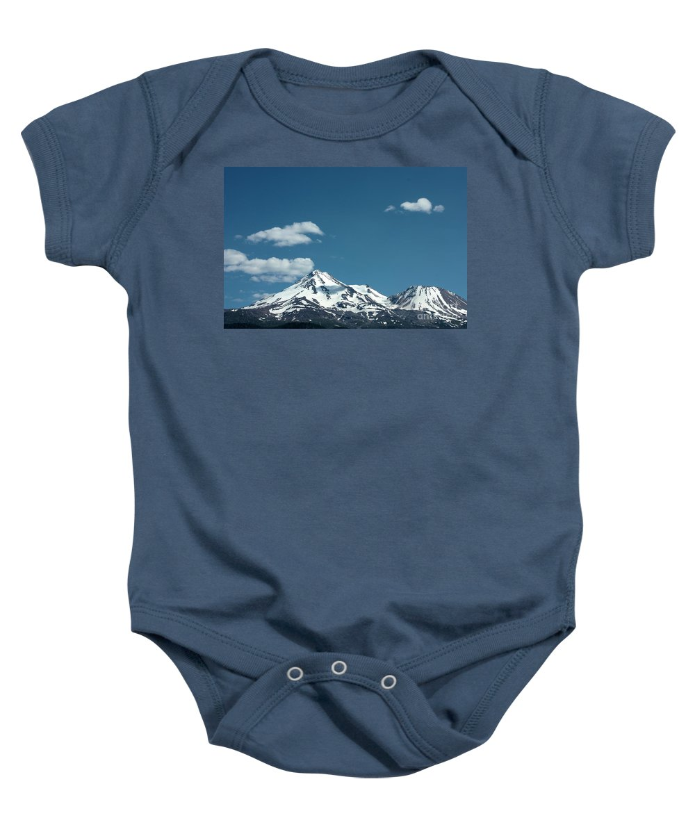 Cloud Baby Onesie featuring the photograph Mt Shasta With Heart-shaped Cloud by Carol Groenen
