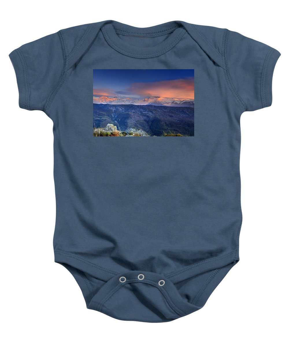 Sunset Baby Onesie featuring the photograph Mulhacen And Alcazaba And Veleta by Guido Montanes Castillo