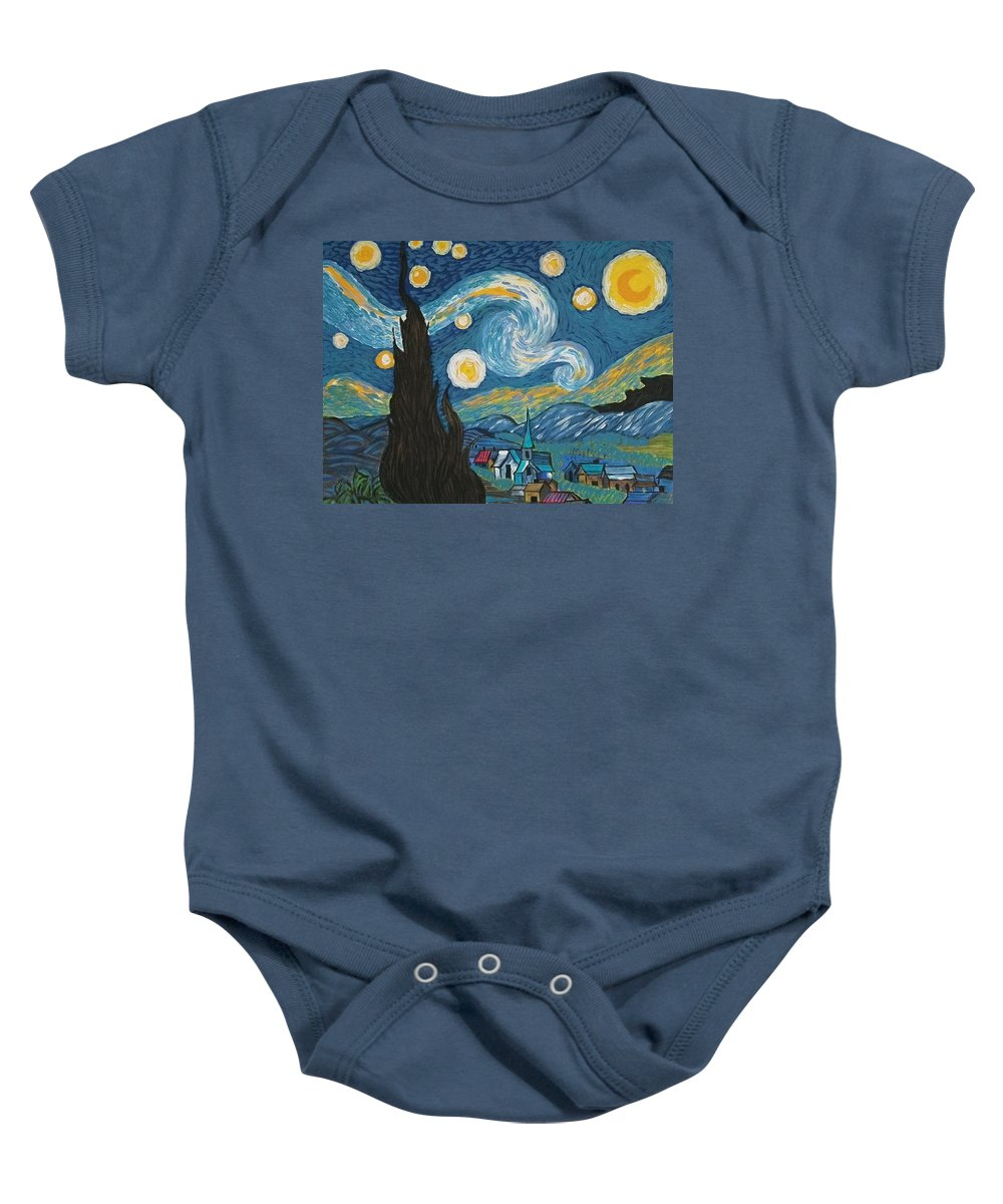 Vincent Baby Onesie featuring the painting My Starry Nite by Angela Miles Varnado