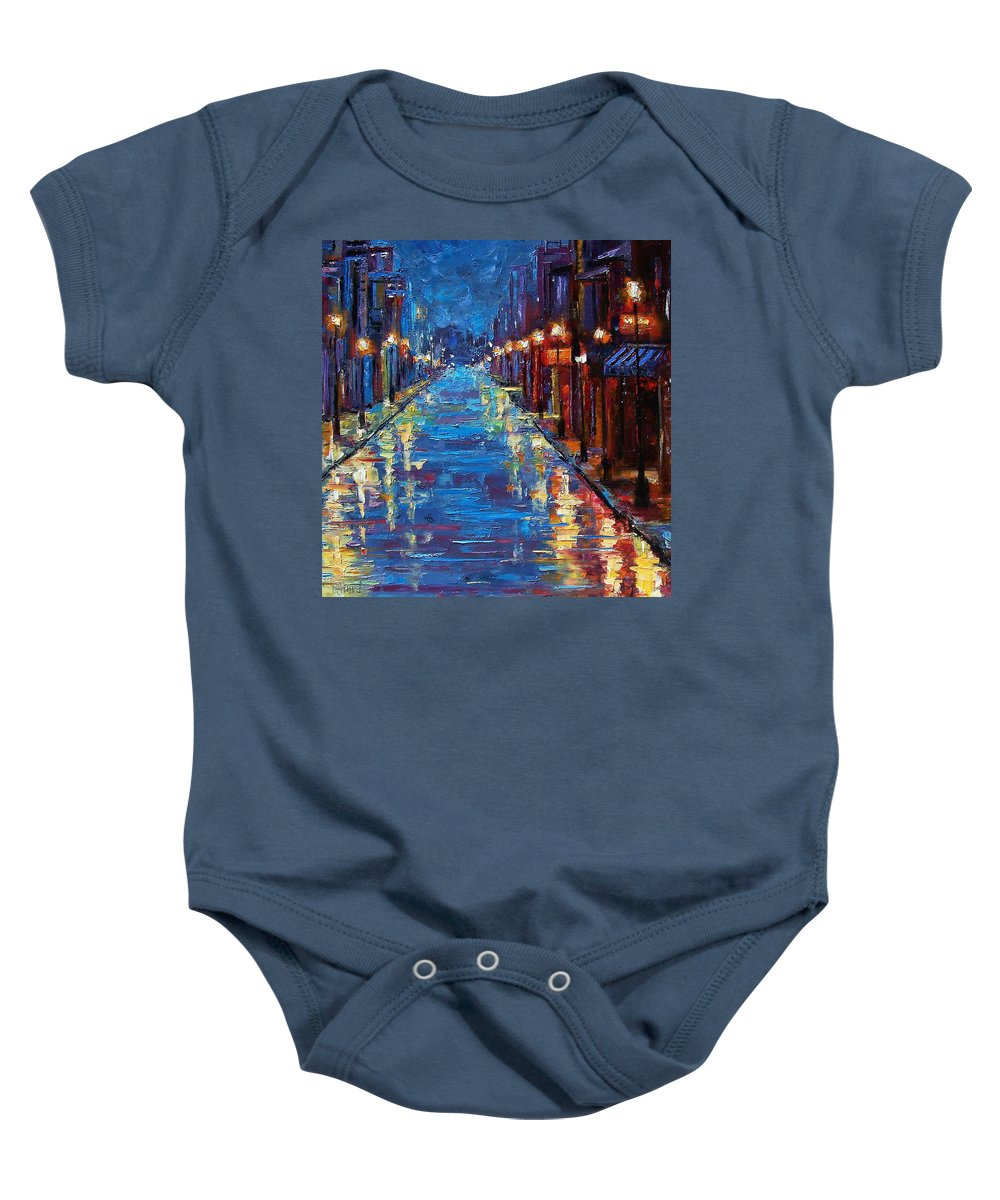 Cityscape Baby Onesie featuring the painting New Orleans Bourbon Street by Debra Hurd