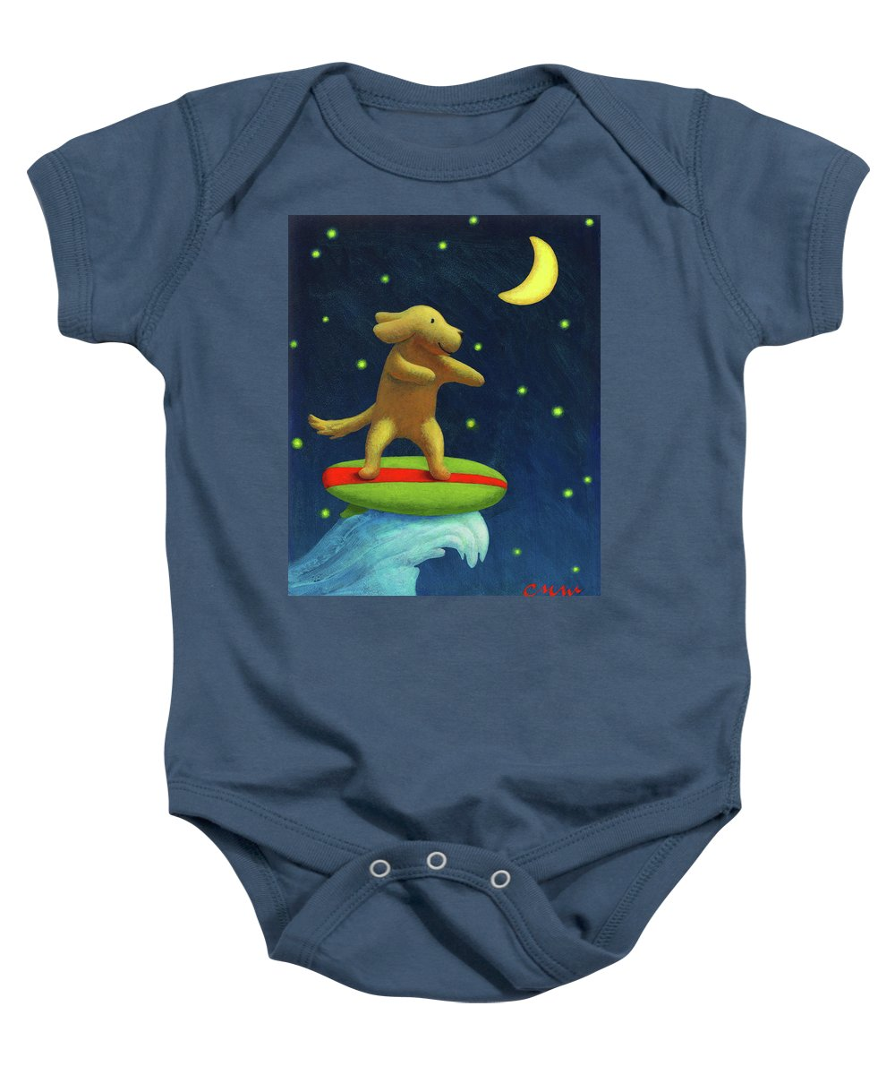 Surf Baby Onesie featuring the painting Night Rider by Chris Miles