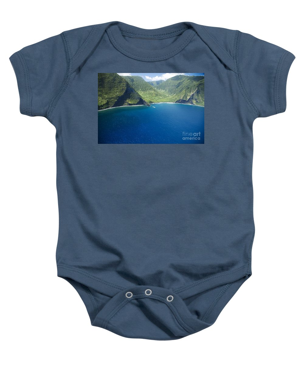 Amazing Baby Onesie featuring the photograph North Shore Cliff Coast Line by Peter French - Printscapes