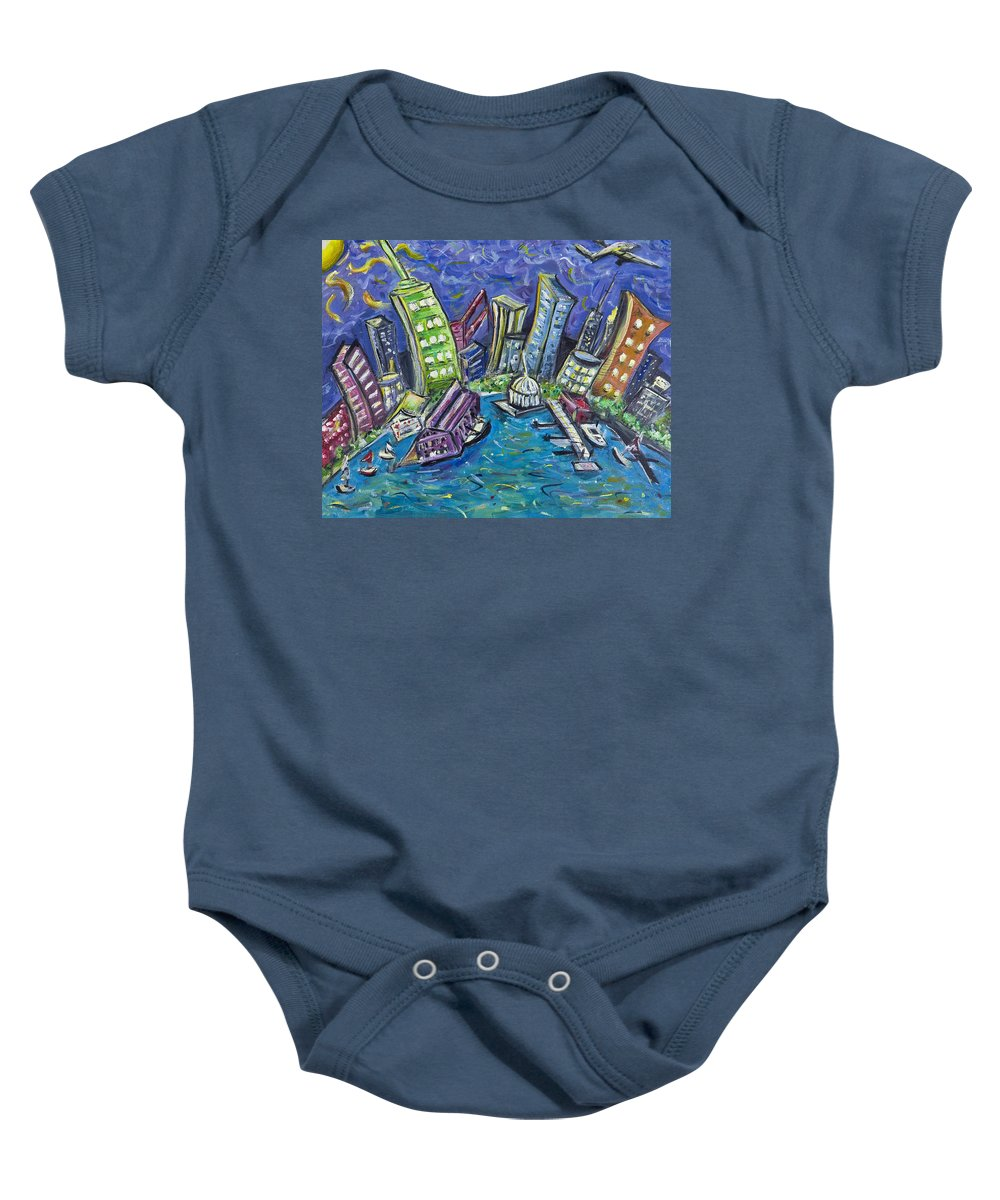 New York City Baby Onesie featuring the painting On The Hudson by Jason Gluskin