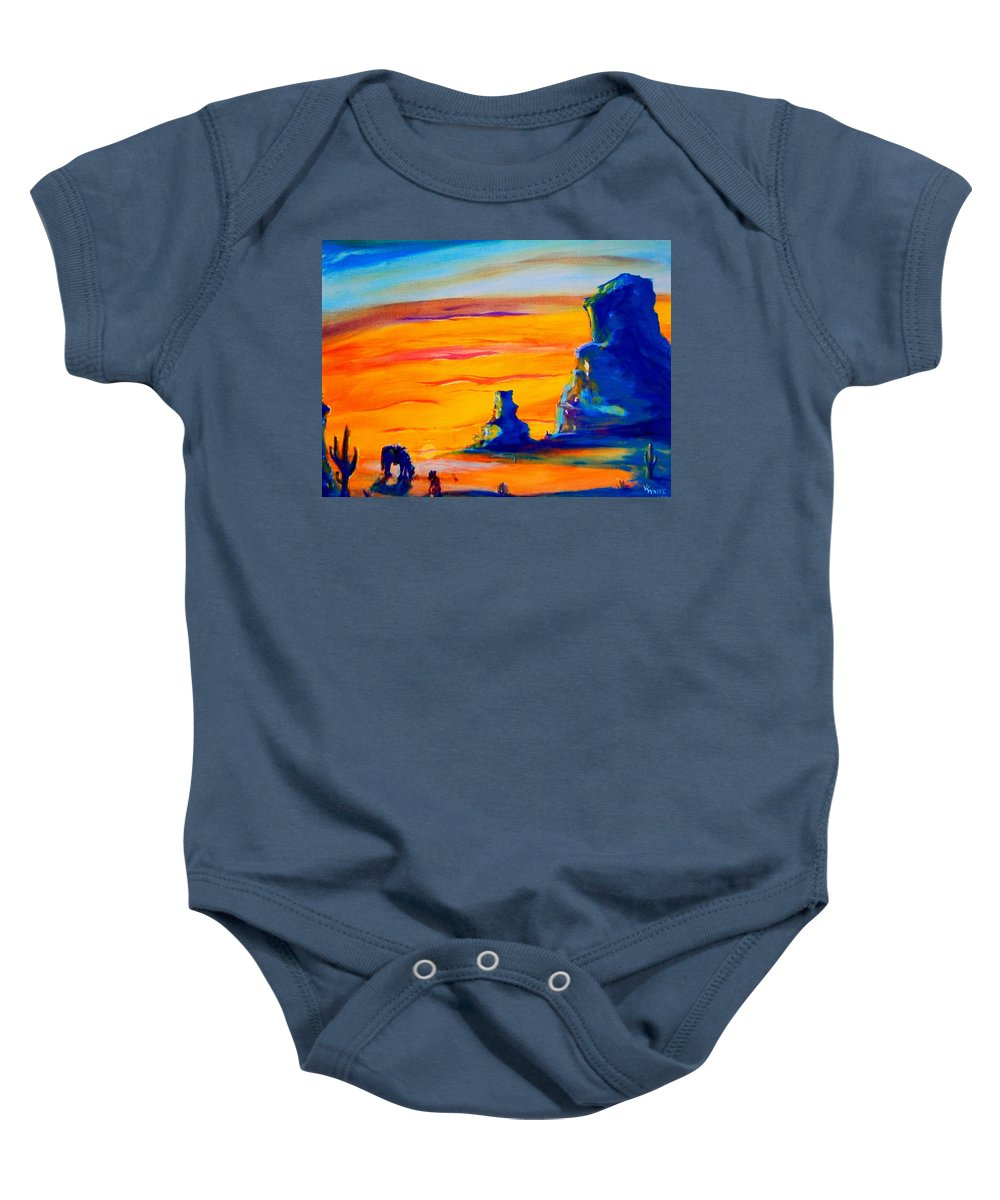 One Baby Onesie featuring the photograph One Lonesome Cowboy by Virginia Kay White