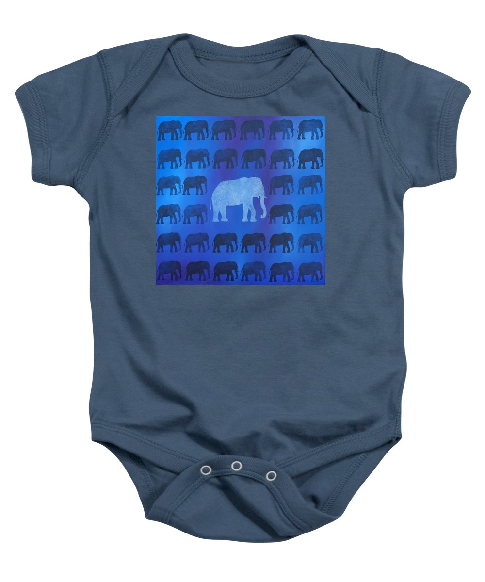 Elephant Baby Onesie featuring the painting One Thousand Goodbyes by Emily Page