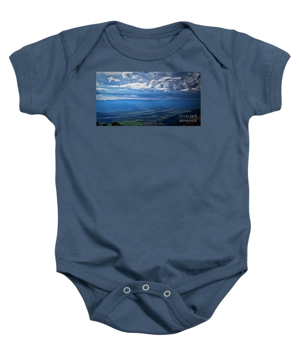 Paragliding Baby Onesie featuring the photograph Paragliding Above Jackson Hole by Bruce Block