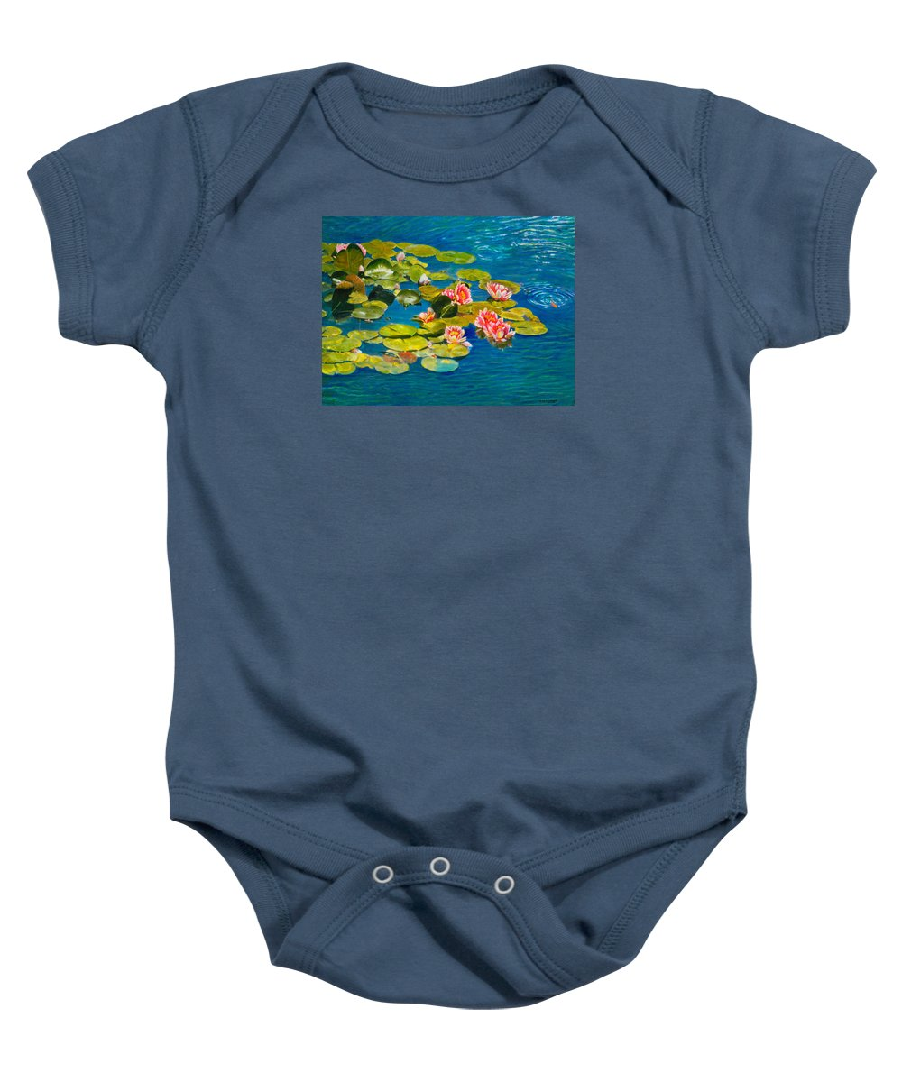 Water Lilies Baby Onesie featuring the painting Peaceful Belonging by Michael Durst