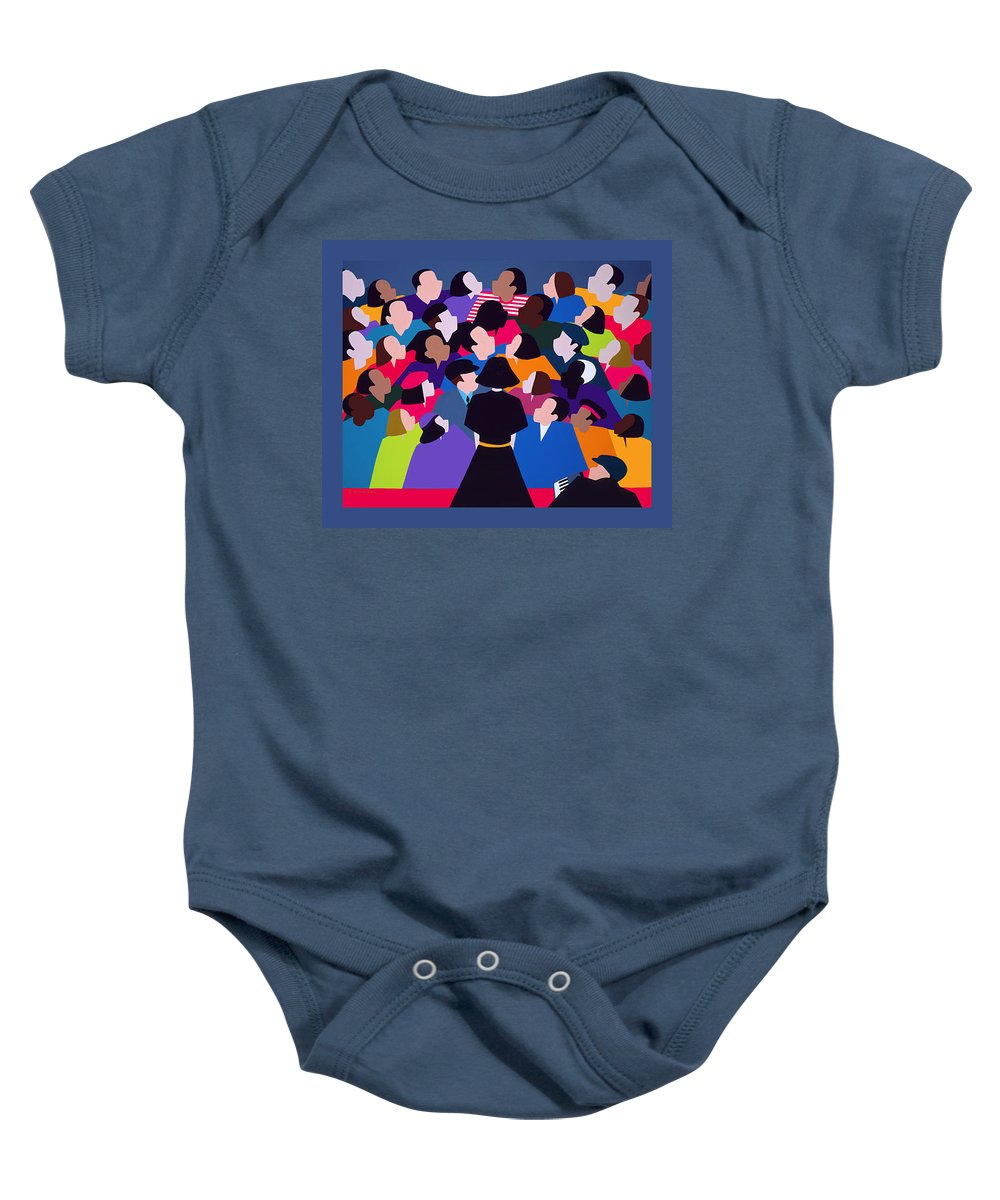 France Baby Onesie featuring the painting Piaf Aka A Tribute To Edith Piaf by Synthia SAINT JAMES