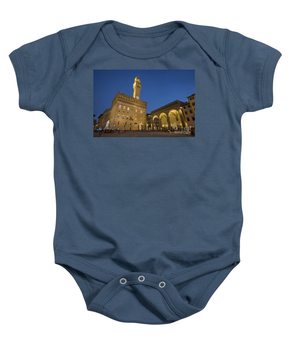 Architectural Baby Onesie featuring the photograph Piazza Della Signoria - Florence by Brian Jannsen