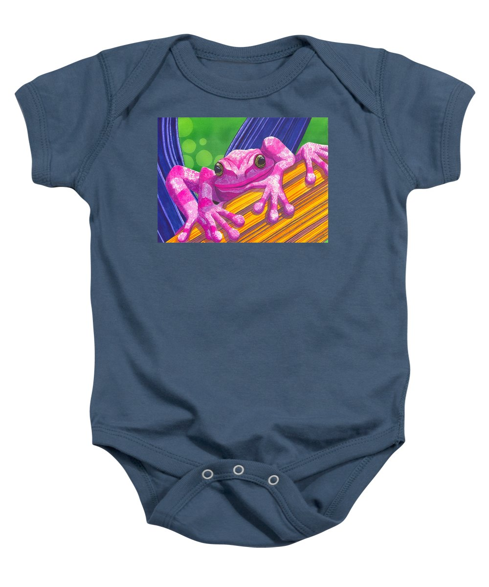 Frog Baby Onesie featuring the painting Pink Frog by Catherine G McElroy