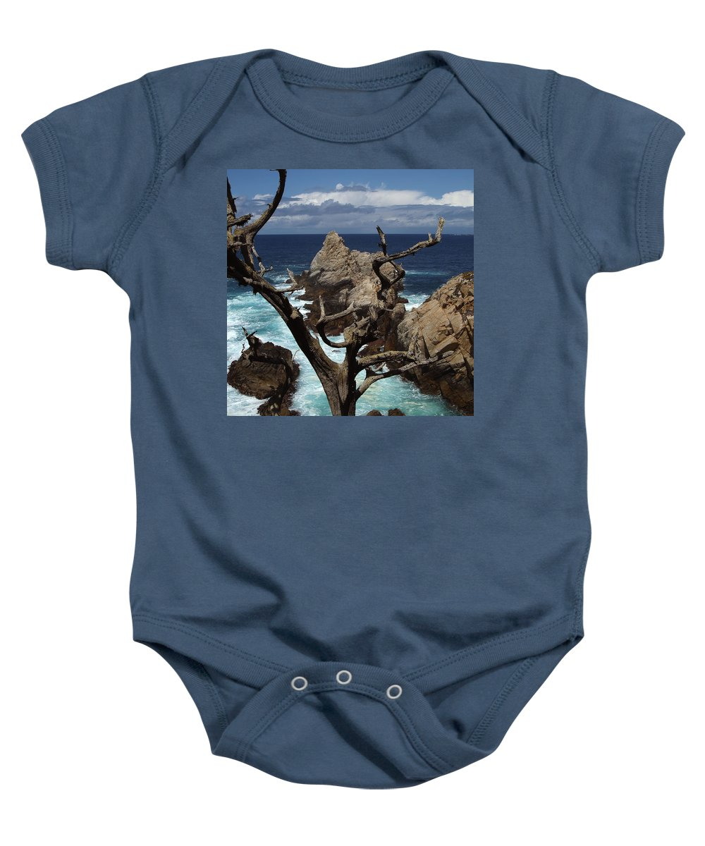 Carmel Baby Onesie featuring the photograph Point Lobos Rocks And Branches by Charlene Mitchell