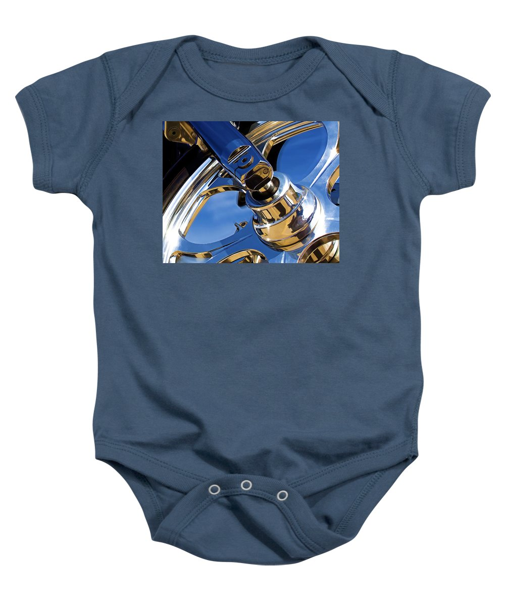 Motorcycle Baby Onesie featuring the photograph Polished by Ricky Barnard