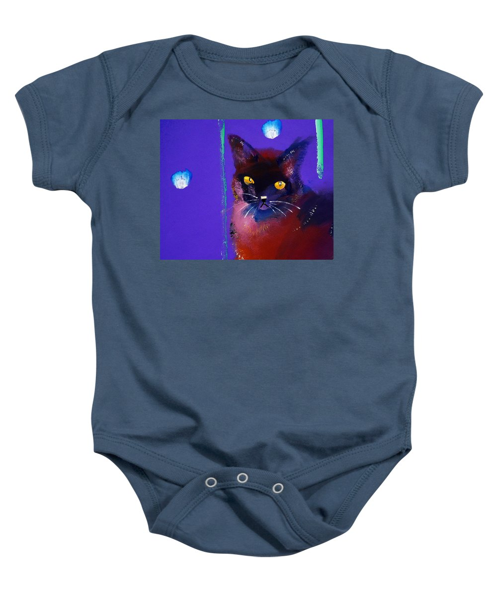 Cat Baby Onesie featuring the painting Posh Tom Cat by Charles Stuart