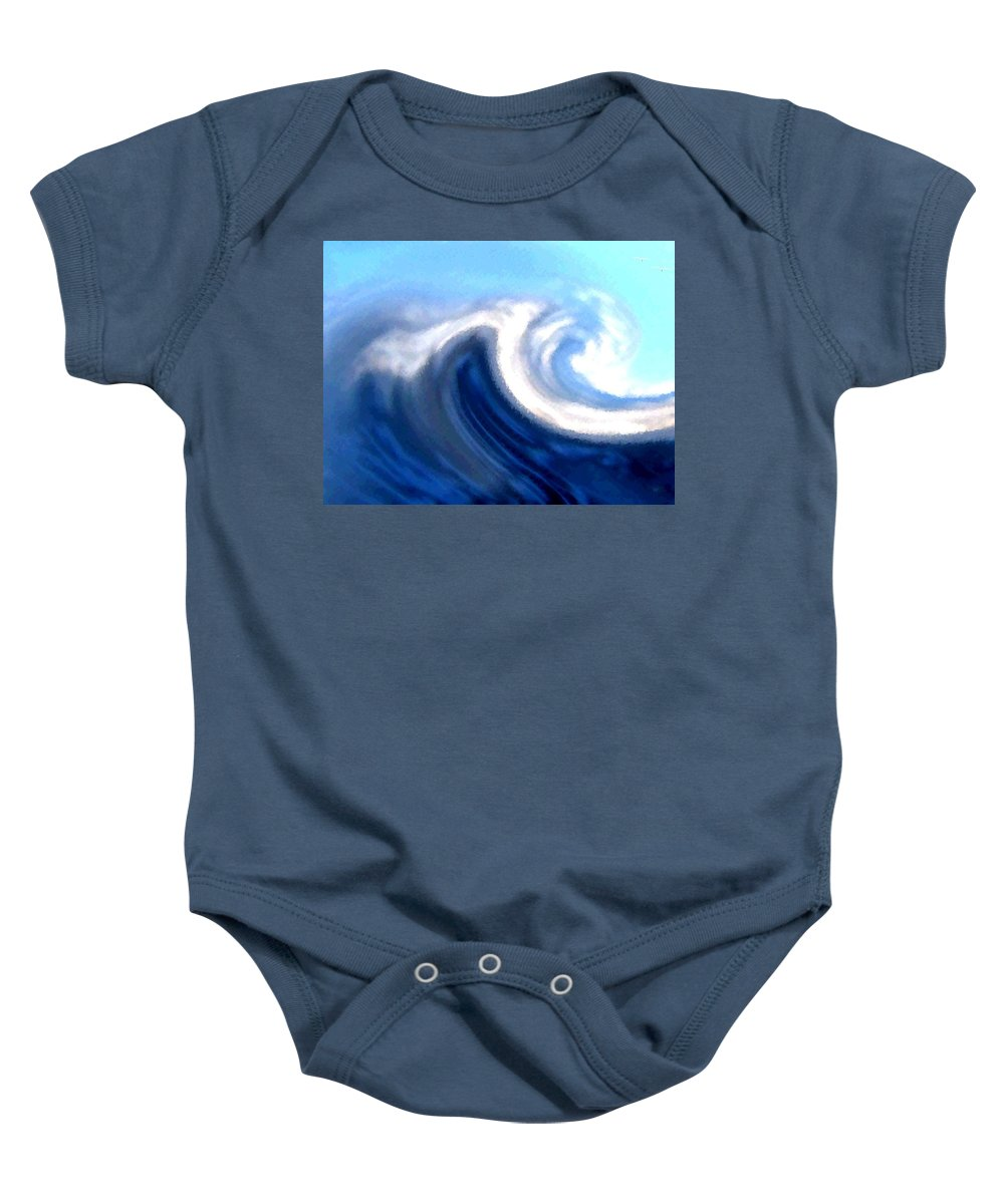 Abstract Baby Onesie featuring the digital art Raging Sea by Will Borden
