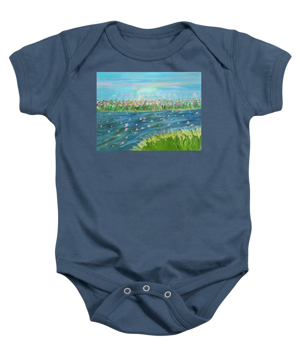 Landscape Baby Onesie featuring the painting Rain And Shine by Sara Credito