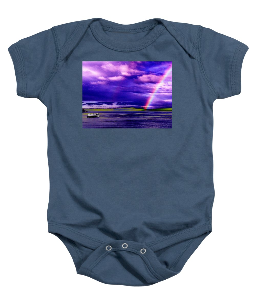 Seattle Baby Onesie featuring the photograph Rainbow Ferry by Tim Allen