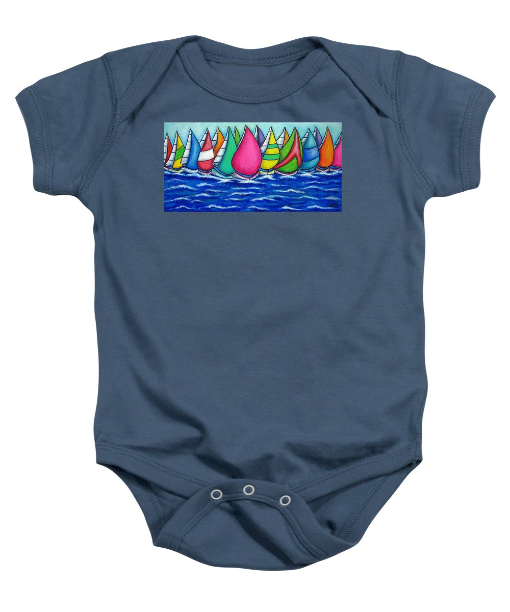 Boats Baby Onesie featuring the painting Rainbow Regatta by Lisa Lorenz