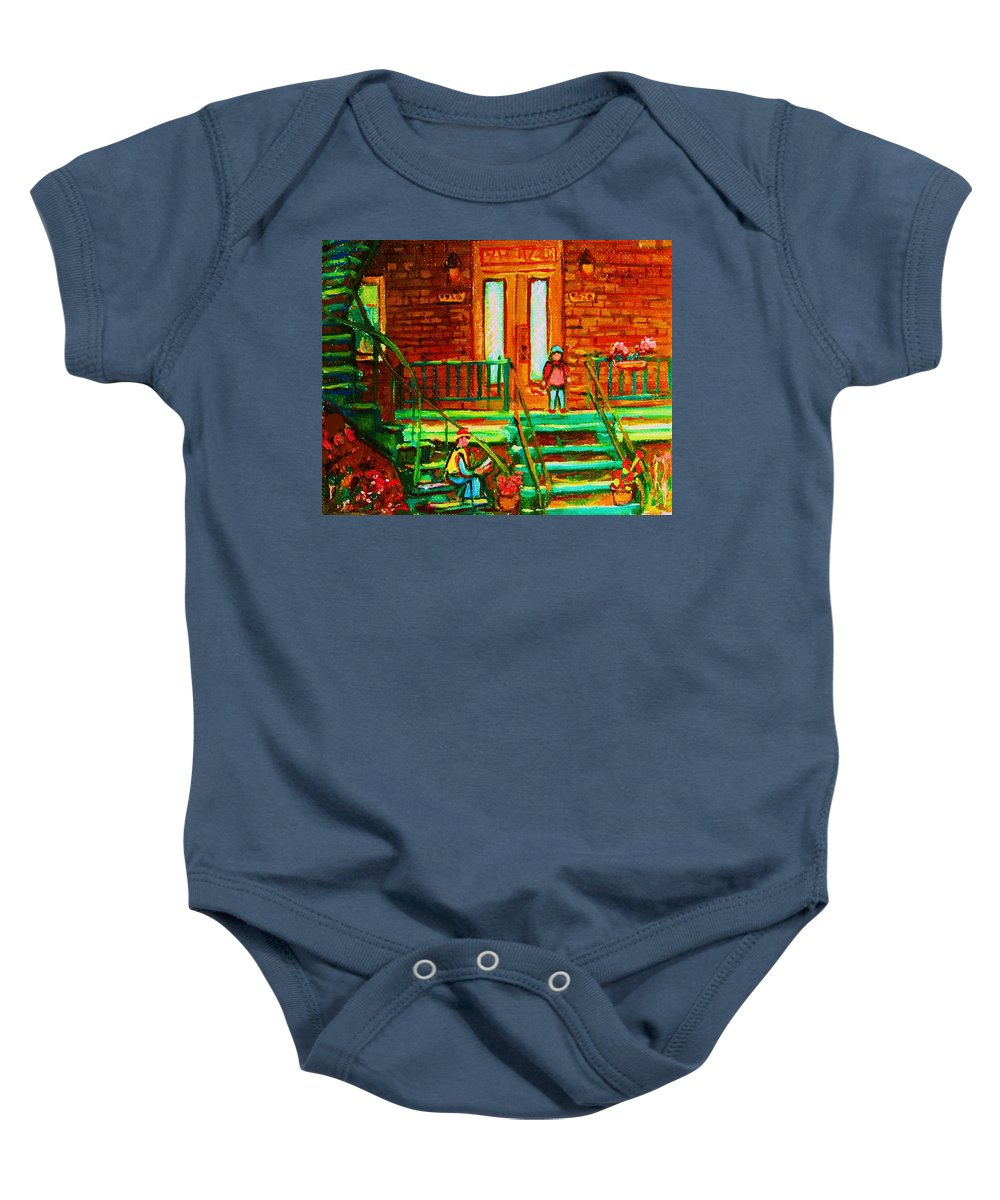 Stairways Baby Onesie featuring the painting Reading On The Steps by Carole Spandau