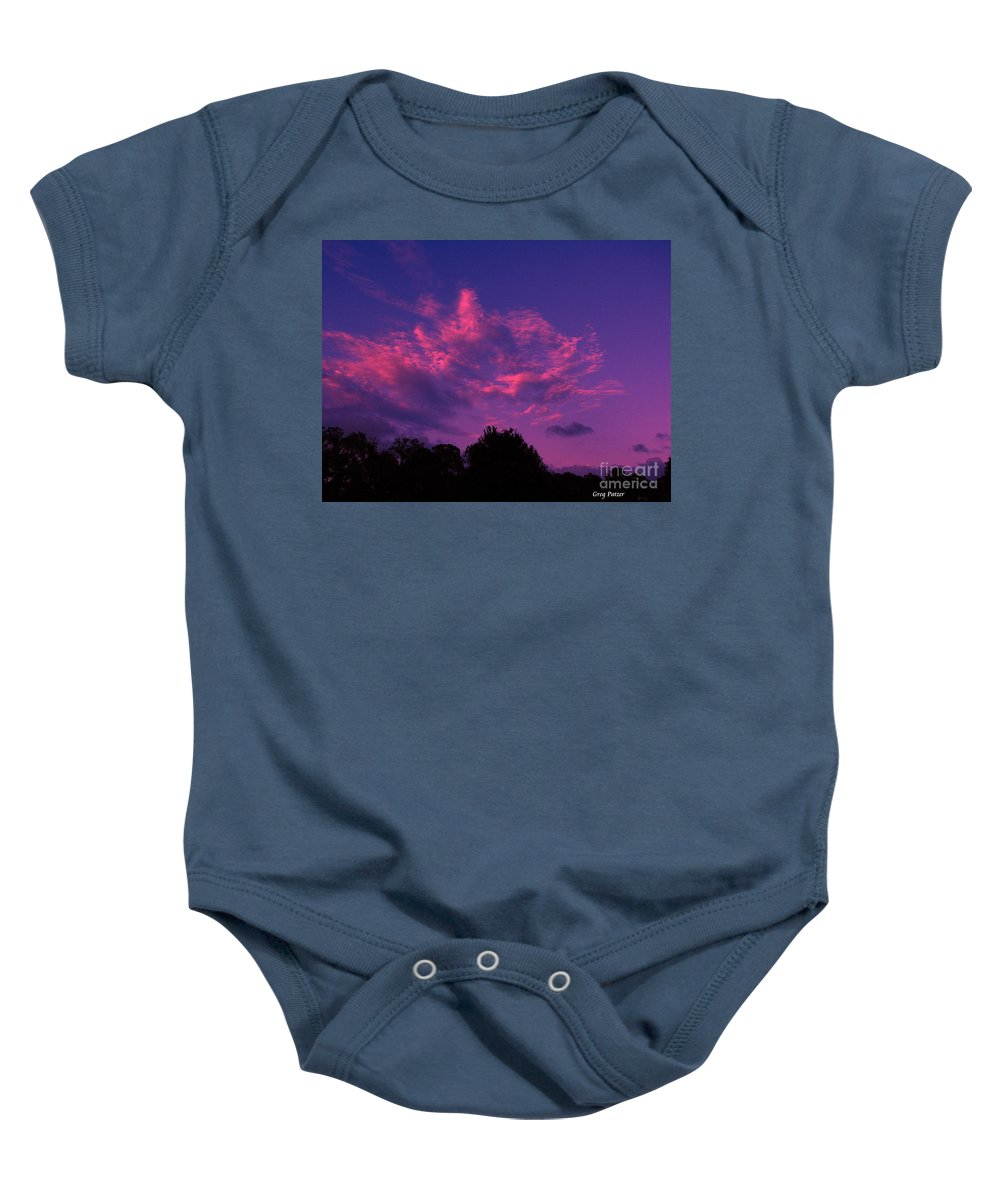 Night Scape Baby Onesie featuring the photograph Red Blue Sky by Greg Patzer