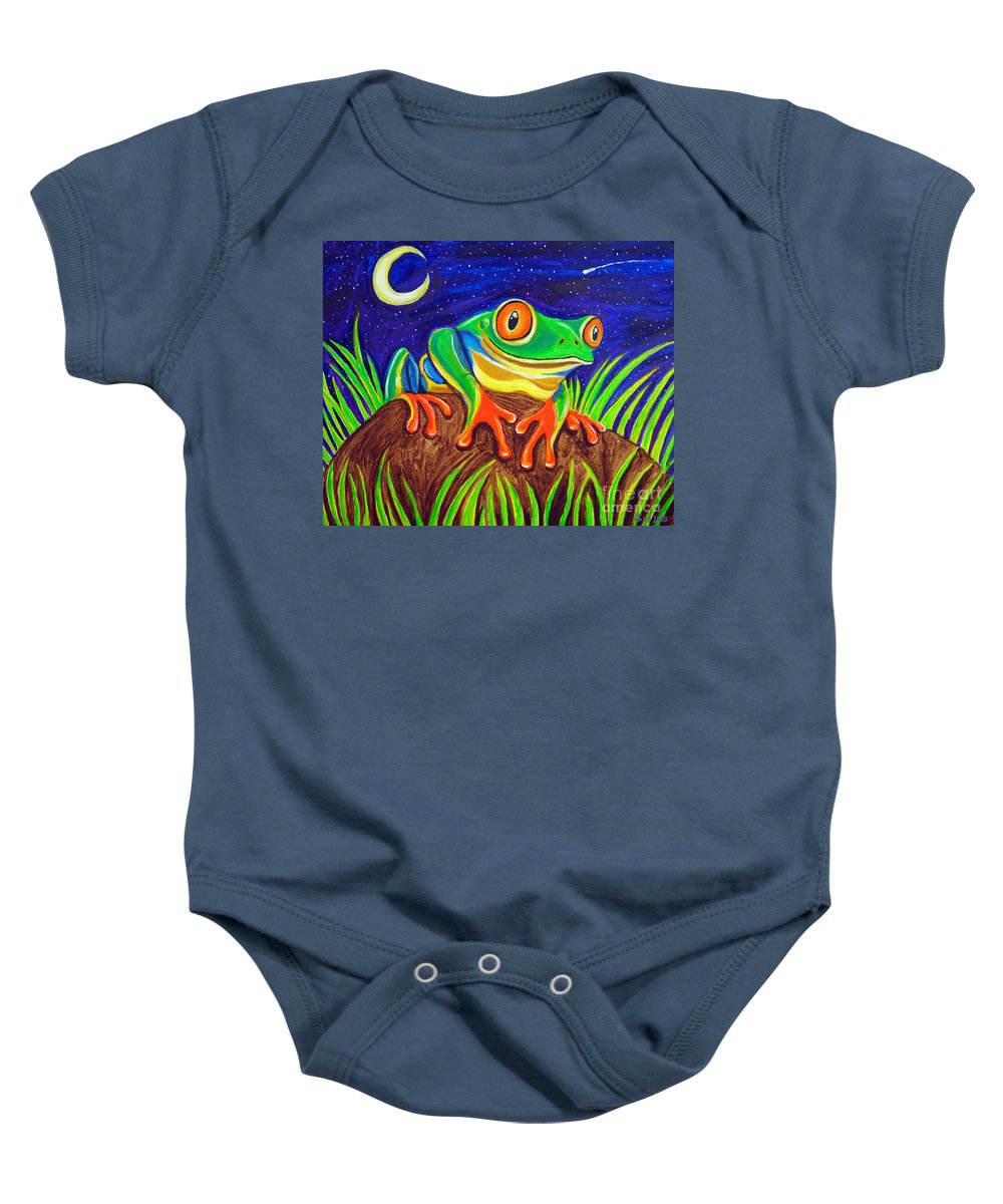 Red-eyed Tree Frog Baby Onesie featuring the painting Red-eyed Tree Frog And Starry Night by Nick Gustafson